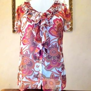 East 5th Floral Boho Print Sheer Blouse L